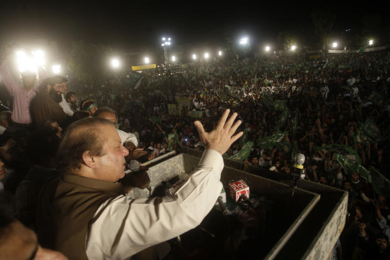 Pakistan's former Prime Minister Nawaz Sharif, addresses his supporters during an election campaign rally, in Lahore, Pakistan, Thursday, May 9, 2013. Pakistan is scheduled to hold parliamentary elections on May 11, the first transition between democratically elected governments in a country that has experienced three military coups and constant political instability since its creation in 1947. The parliament's ability to complete its five-year term has been hailed as a significant achievement. (AP Photo/K.M. Chaudary)