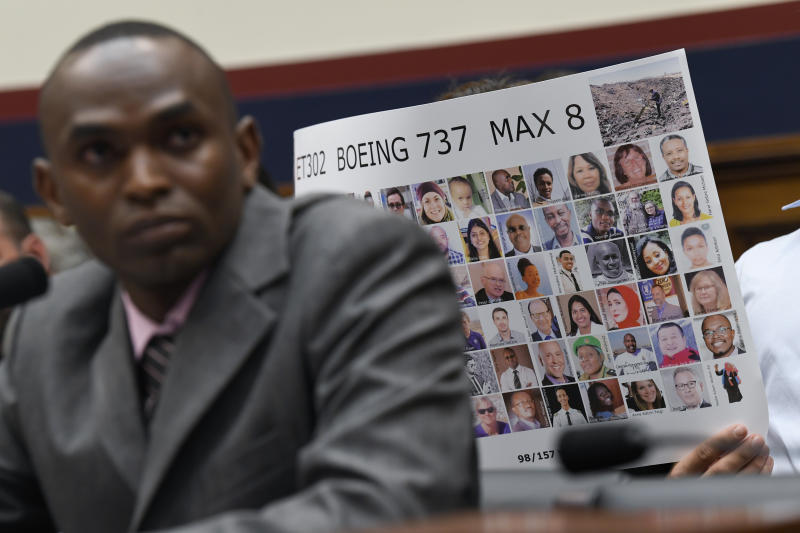 Paul Njoroge testifies during a House Transportation subcommittee hearing on Capitol Hill in Washington, Wednesday, July 17, 2019, on aviation safety. Njoroge lost his wife and three young children on Ethiopian Airlines Flight 302. The plane was a Boeing 737 MAX. (AP Photo/Susan Walsh)