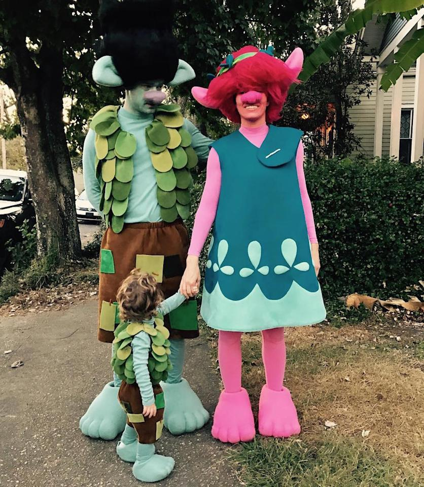 """<p>For JT, star of the new animated movie <i>Trolls</i>, choosing a costume was easy. He dressed as his character, Branch, while his actress wife, Jessica Biel, was Anna Kendrick's character, Poppy. As for their son, Silas? He was Branch Jr. (Photo: <a rel=""""nofollow"""" href=""""https://www.instagram.com/p/BMP3q2jjrzu/"""">Instagram</a><a rel=""""nofollow"""">) </a></p>"""
