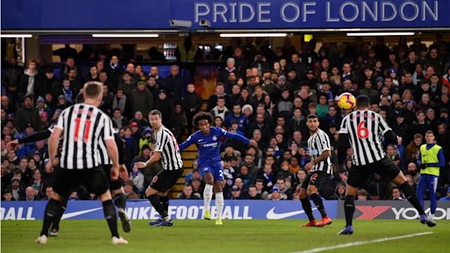 Pedro and Willian scored for Chelsea as they claimed a 2-1 Premier League victory over Newcastle United.