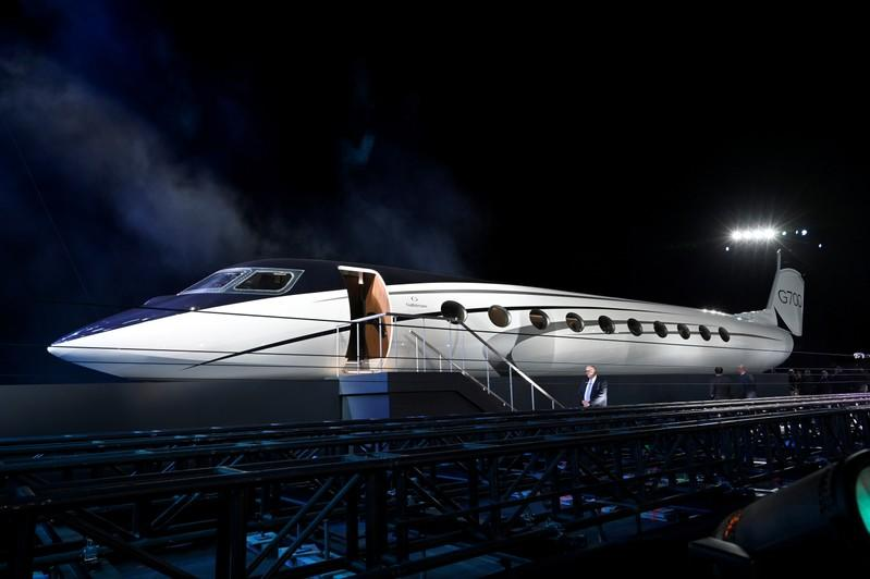 A mockup of the Gulfstream G700 is unveiled during a news conference at the National Business Aviation Association (NBAA) exhibition in Las Vegas
