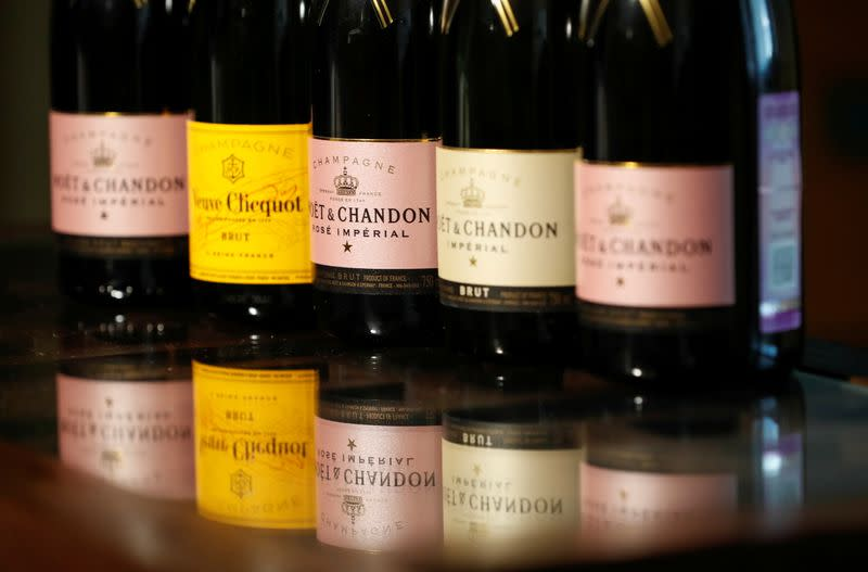 FILE PHOTO: Bottles of Moet & Chandon and Veuve Clicquot French champagne are seen in this illustration picture