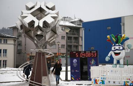 FILE PHOTO: A clock counts down to the upcoming European Youth Olympic Winter Festival, in East Sarajevo, Bosnia and Herzegovina February 5, 2019. Picture taken February 5, 2019. REUTERS/Dado Ruvic