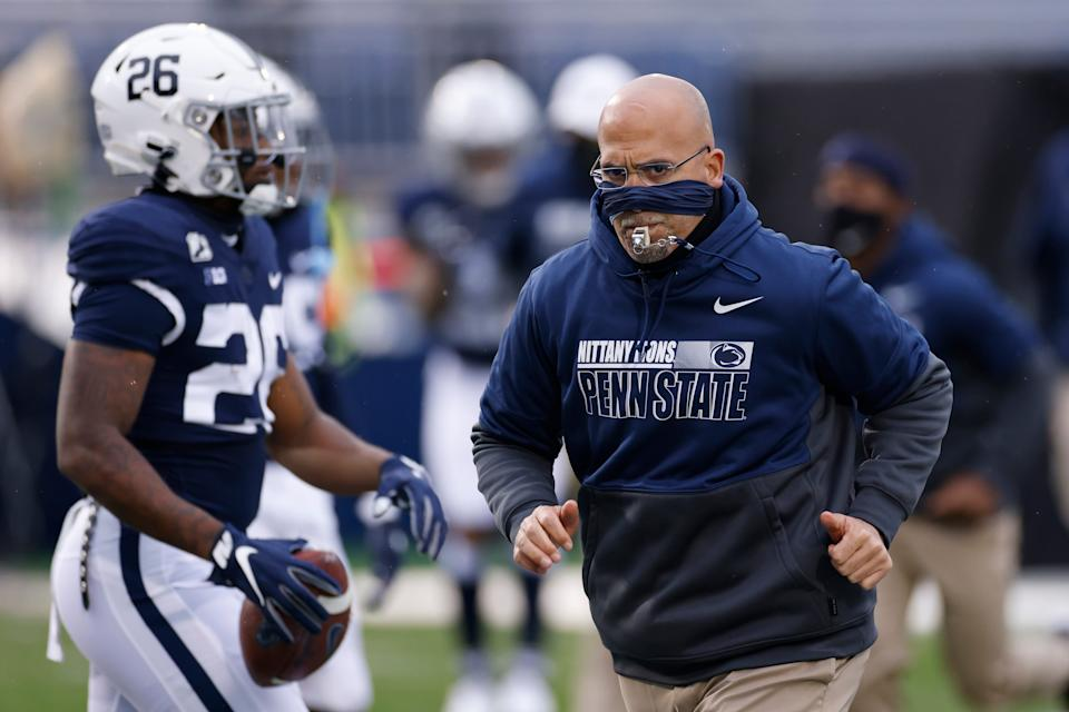 STATE COLLEGE, PA - NOVEMBER 21: Head coach James Franklin of the Penn State Nittany Lions looks on before the game against the Iowa Hawkeyes at Beaver Stadium on November 21, 2020 in State College, Pennsylvania. (Photo by Joe Robbins/Getty Images)