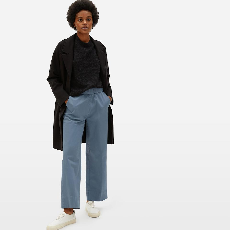 """<h2>The Easy Straight Leg Chino<br></h2><br>This relaxed pant stays elevated thank to its cotton fabrication. """"These pants are so comfy, but can be dressed up in a sec,"""" explained a reviewer. """"I can wear them with flats, sneakers or sandals. The quality is superb.""""<br><br><strong>Everlane</strong> The Easy Straight Leg Chino, $, available at <a href=""""https://go.skimresources.com/?id=30283X879131&url=https%3A%2F%2Fwww.everlane.com%2Fproducts%2Fwomens-easy-straight-leg-chino-blue-teal%3Fcollection%3Dwomens-lounge"""" rel=""""nofollow noopener"""" target=""""_blank"""" data-ylk=""""slk:Everlane"""" class=""""link rapid-noclick-resp"""">Everlane</a>"""