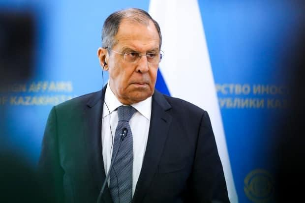 Russian Foreign Minister Sergey Lavrov listens to a journalist's question during a joint news conference with Kazakh Foreign Minister Mukhtar Tleuberdi following their talks at the Ministry of Foreign Affairs in Nur-Sultan, Kazakhstan. The Russian foreign ministry banned nine Canadian officials Monday, including Justice Minister David Lametti. (Russian Foreign Ministry Press Service via AP Photo - image credit)