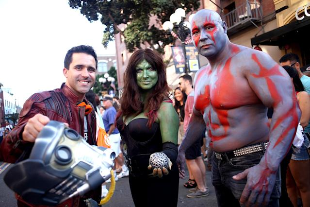 <p>Cosplayers dressed as Star-Lord, Gamora, and Drax at Comic-Con International on July 19, 2018, in San Diego. (Photo: Tommaso Boddi/Getty Images) </p>