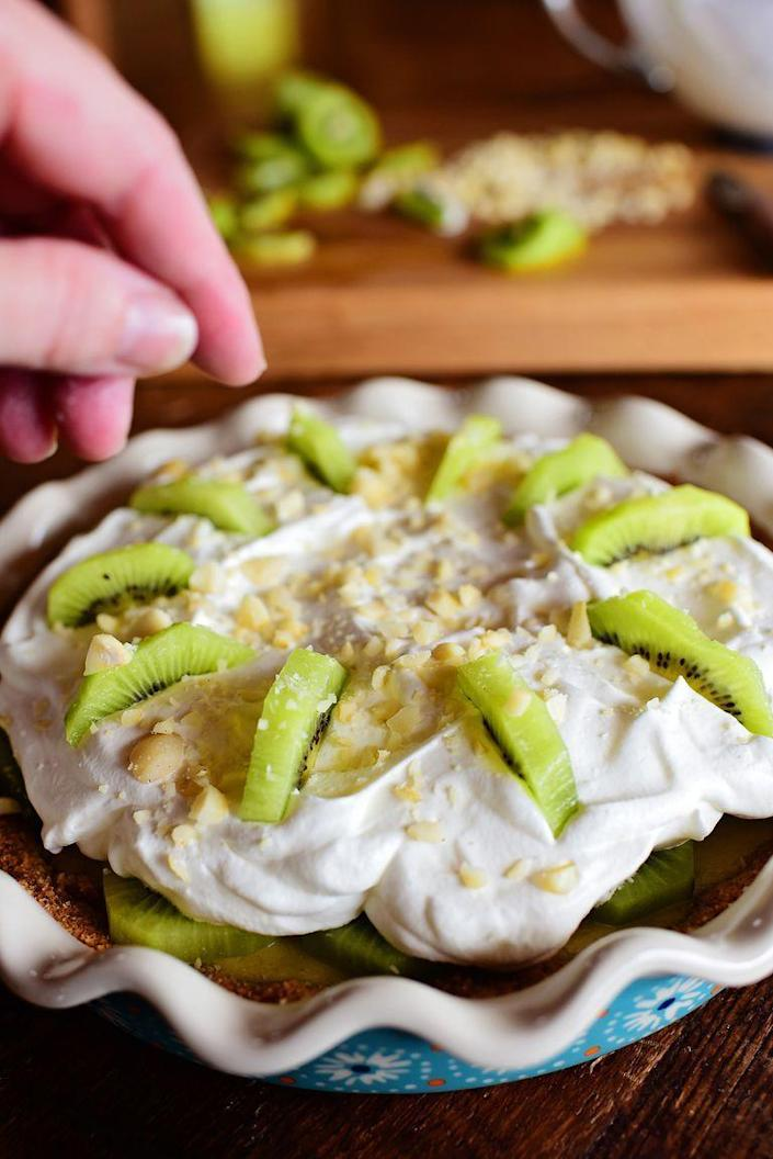 """<p>The base of this pie is a lime custard, which is then topped with kiwis and a heaping pile of whipped cream. </p><p><strong><a href=""""https://www.thepioneerwoman.com/food-cooking/recipes/a78426/kiwi-pie/"""" rel=""""nofollow noopener"""" target=""""_blank"""" data-ylk=""""slk:Get the recipe."""" class=""""link rapid-noclick-resp"""">Get the recipe.</a></strong></p><p><strong><a class=""""link rapid-noclick-resp"""" href=""""https://go.redirectingat.com?id=74968X1596630&url=https%3A%2F%2Fwww.walmart.com%2Fsearch%2F%3Fquery%3Dpioneer%2Bwoman%2Bpie%2Bplates&sref=https%3A%2F%2Fwww.thepioneerwoman.com%2Ffood-cooking%2Fmeals-menus%2Fg35269814%2Fst-patricks-day-desserts%2F"""" rel=""""nofollow noopener"""" target=""""_blank"""" data-ylk=""""slk:SHOP PIE PLATES"""">SHOP PIE PLATES</a><br></strong></p>"""