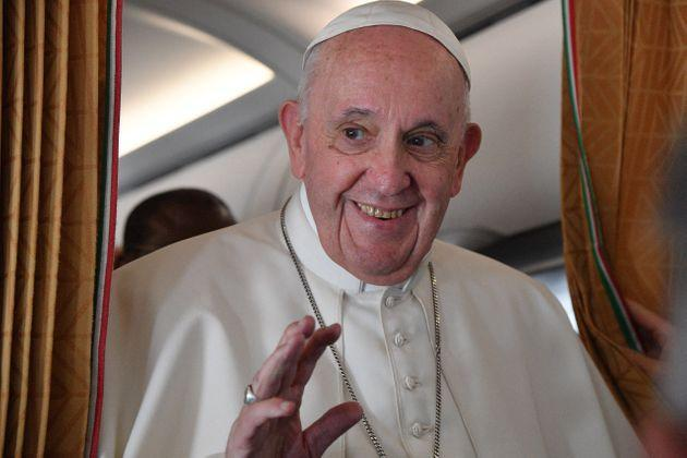 Pope Francis speaks with journalists on board an Alitalia aircraft enroute from Bratislava's Milan Rastislav Stefanik International airport in Bratislava, Slovakia, back to Rome on September 15, 2021. (Photo by Tiziana FABI / POOL / AFP) (Photo by TIZIANA FABI/POOL/AFP via Getty Images) (Photo: TIZIANA FABI via Getty Images)