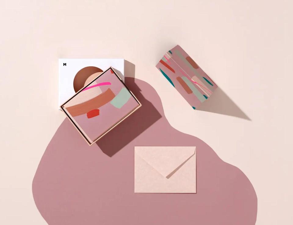 <p>In a world where texts, direct messages, and video chats reign supreme, putting pen to paper might seem a little...well, old-school. But, as <span>Moglea Hillier's Note Cards</span> ($20) proves, snail mail is making <em>major</em> comeback. After all, who wouldn't want to receive one of these abstract notes in their mailbox? </p>