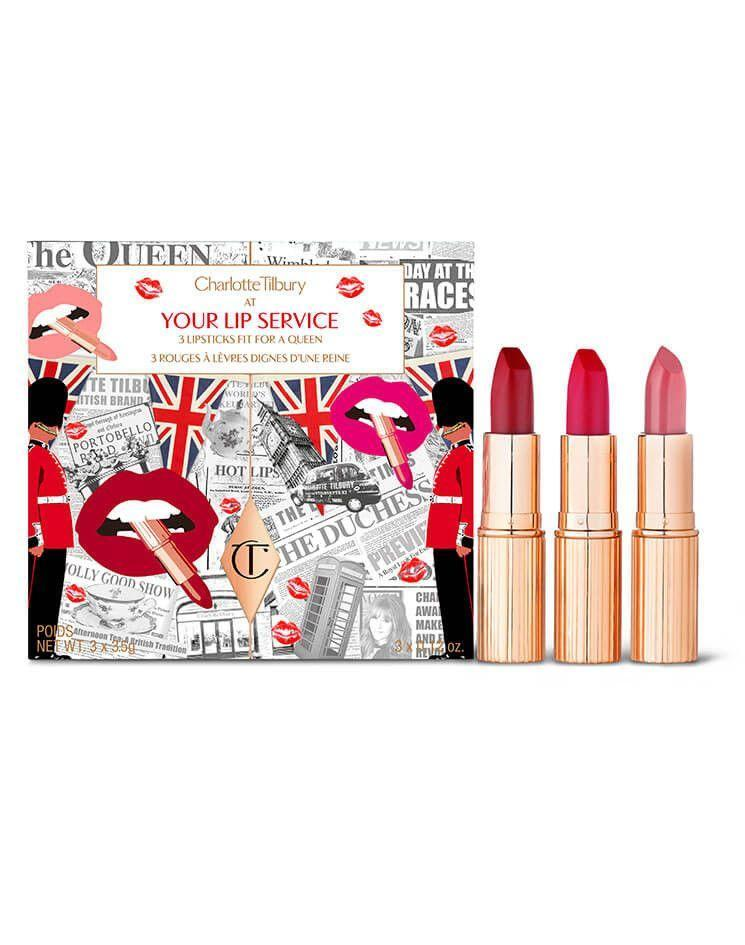 """<p>You don't need to be a Victoria's Secret Angel to rock the best of Charlotte Tilbury. On c<a href=""""http://charlottetilbury.com/"""" rel=""""nofollow noopener"""" target=""""_blank"""" data-ylk=""""slk:harlottetilbury.com"""" class=""""link rapid-noclick-resp"""">harlottetilbury.com</a>, you'll be able to get three gift sets (Your Lip Service, Naughty & Nice Box, Lip Masterclass Set) for half off from November 23 until the 26th.</p><p>Once Cyber Monday comes around, fans of the brand will be able to purchase a mystery box ($100) for one day that includes five full-size products and one makeup bag, or a deluxe master box ($210) that includes eight full-size products and one makeup bag.</p><br><br><strong>Charlotte Tilbury</strong> Your Lip Service, $85, available at <a href=""""https://www.charlottetilbury.com/us/your-lip-service-lip-kit.html#locklink"""" rel=""""nofollow noopener"""" target=""""_blank"""" data-ylk=""""slk:Charlotte Tilbury"""" class=""""link rapid-noclick-resp"""">Charlotte Tilbury</a>"""