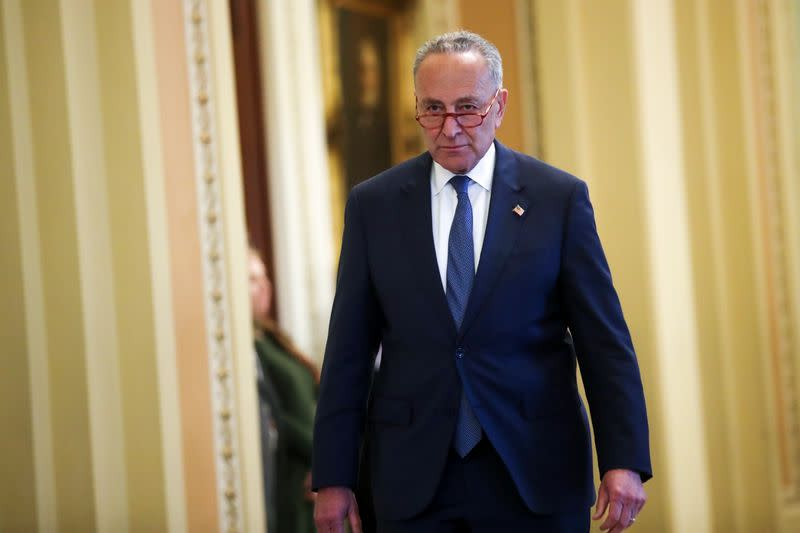 U.S. Senate Minority Leader Schumer  departs the Senate floor after his remarks, in the U.S. Capitol in Washington