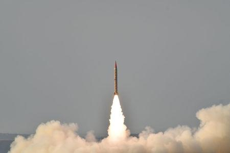 Shaheen II, surface-to-surface ballistic missile, according to Pakistan capable of delivering conventional and nuclear weapons at a range of up to 1500 miles, during a training launch in this handout photo released by Inter Services Public Relations (ISPR) on May 23, 2019. Inter Services Public Relations (ISPR)/Handout via REUTERS