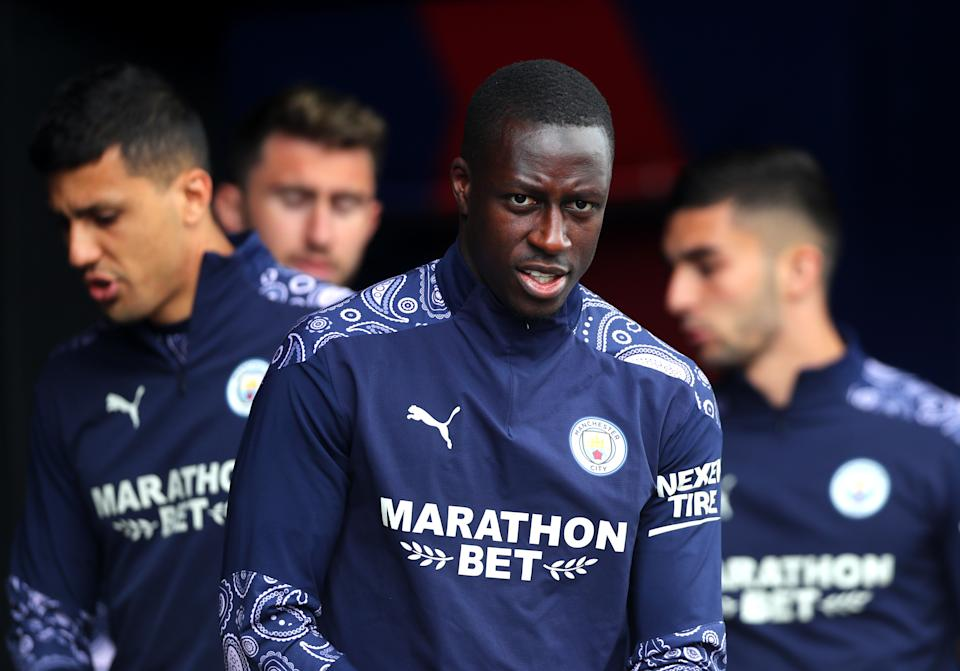 LONDON, ENGLAND - MAY 01: Benjamin Mendy of Manchester City looks on during the Premier League match between Crystal Palace and Manchester City at Selhurst Park on May 01, 2021 in London, England. Sporting stadiums around the UK remain under strict restrictions due to the Coronavirus Pandemic as Government social distancing laws prohibit fans inside venues resulting in games being played behind closed doors. (Photo by Chloe Knott - Danehouse/Getty Images)