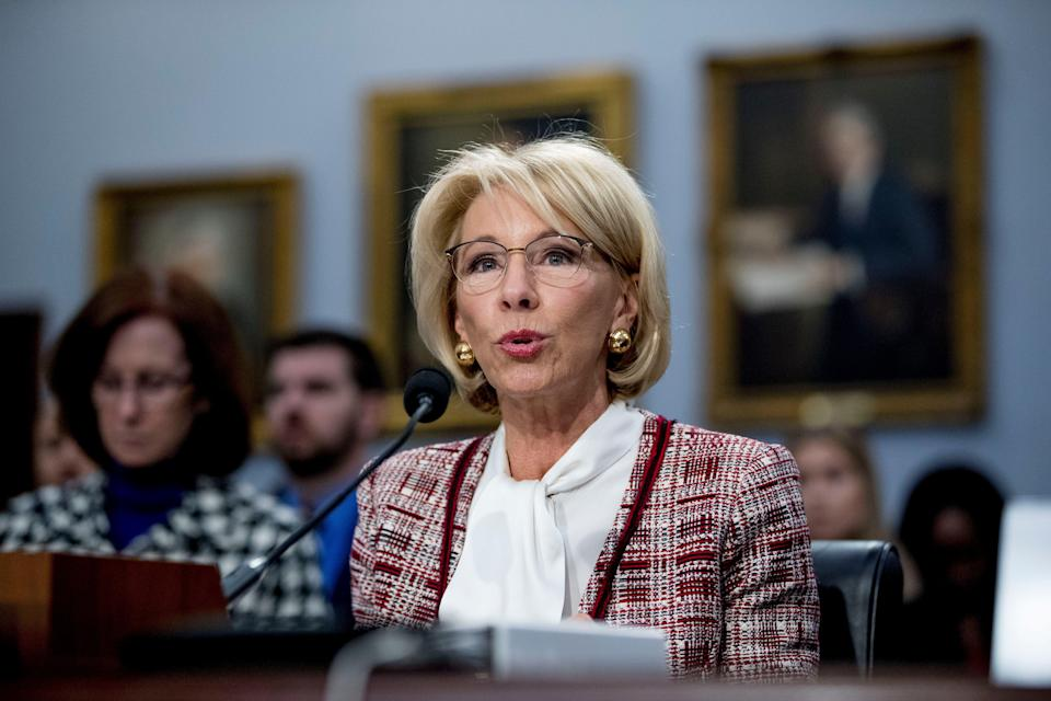 Education Secretary Betsy DeVos speaks during a House Appropriations subcommittee hearing on budget on Capitol Hill in Washington, Tuesday, March 26, 2019. (AP Photo/Andrew Harnik)