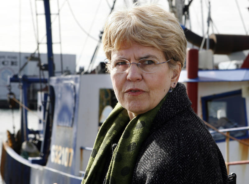 FILE - In this March 2, 2010 file photo, National Oceanic and Atmospheric Administration, NOAA, chief, Jane Lubchenco looks out from the waterfront as she speaks to fisherman in Gloucester, Mass. The head of the National Oceanic and Atmospheric Administration said Wednesday, Dec. 12, 2012 she will leave her post at the end of February 2013. (AP Photo/Mary Schwalm, File)