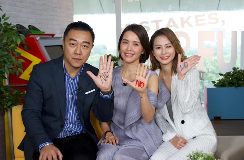 "Guo Liang, Zoe Tay and Bonnie Loo after a panel discussion about date rape for Zoe Tay's ""You Can Say No"" campaign at Mediacorp Campus on 26 June 2019. (Photo: Darrel Moh for Yahoo Lifestyle Singapore)"