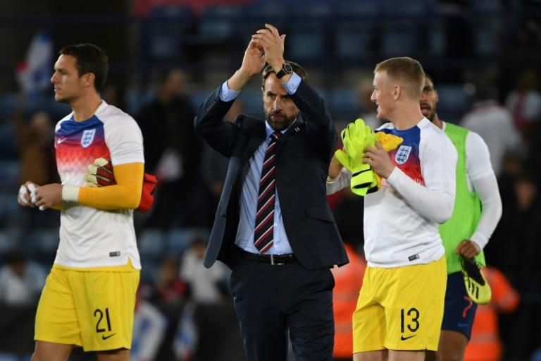 England manager Gareth Southgate applauds fans after victory against Switzerland in Leicester