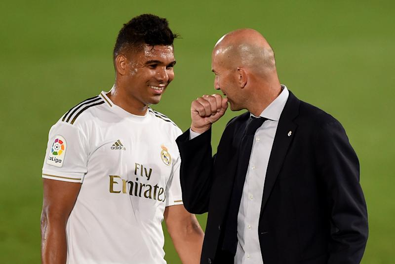 Casemiro, Zinedine Zidane and Real Madrid are only about to win La Liga because they're favored by the referees. Or something. (Photo by Denis Doyle/Getty Images)