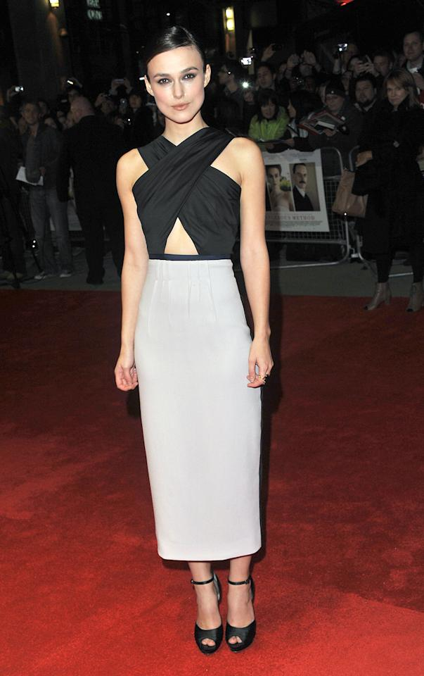"Keira Knightley, who was nominated for ""Pride & Prejudice,"" exposed her midriff in this unusual dress."