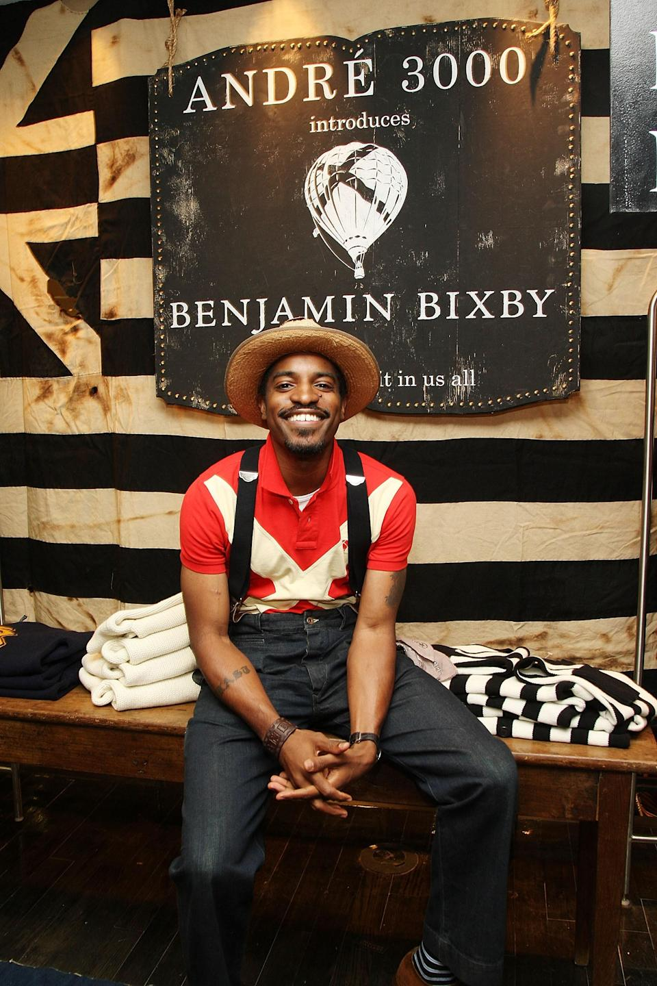 """Launched in 2008, Benjamin Bixby was Andre 3000's <a href=""""https://www.nytimes.com/2008/10/02/fashion/02BIXBY.html"""" rel=""""nofollow noopener"""" target=""""_blank"""" data-ylk=""""slk:menswear line"""" class=""""link rapid-noclick-resp"""">menswear line</a> influenced by """"1930s college football documentaries."""" Complete with collegiate sweaters, newsboy caps, and toggle knit sweaters, it had a sporty, heritage feel. The line didn't last, but it surprisingly still looks and feels modern today."""