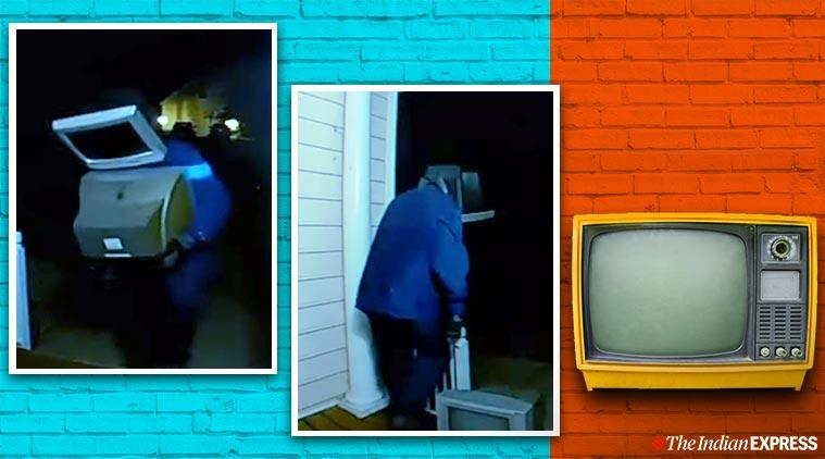 Guy TV head leaves TVs on people's lawns, TV head guys leave TVs, old TV sets viral story, bizarre tv head man leaving old tv sets, trending, indian express, indian express news