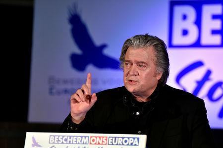 FILE PHOTO: Bannon delivers a speech during a meeting to discuss the Marrakesh Treaty in Brussels