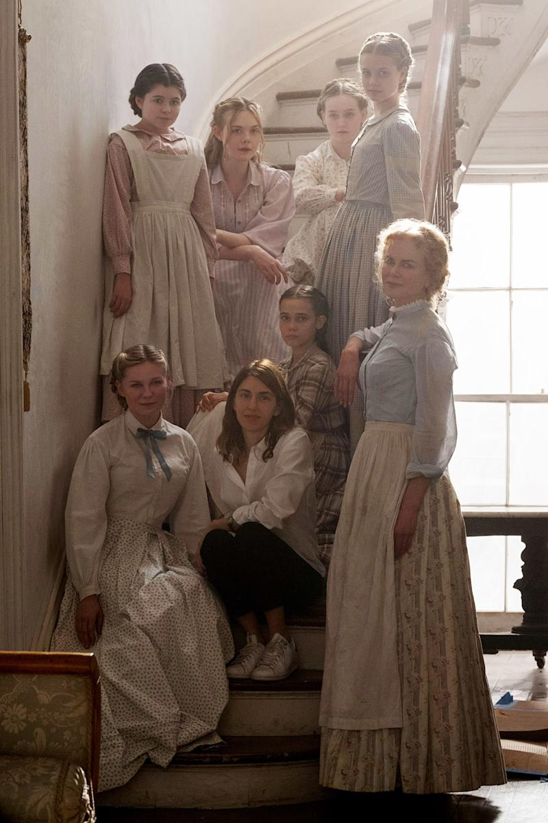 Elle Fanning, Angourie Rice, Kirsten Dunst, Addison Riecke, Oona Laurence, and Nicole Kidman—with director Sofia Coppola—in The Beguiled.