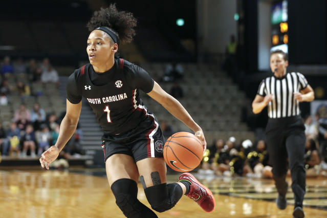 South Carolina guard Zia Cooke plays against Vanderbilt in the first half of an NCAA college basketball game Sunday, Jan. 12, 2020, in Nashville, Tenn. (AP Photo/Mark Humphrey)
