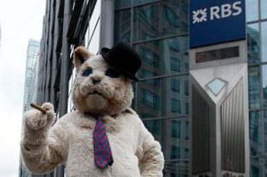 'Fat cat' protester outside RBS