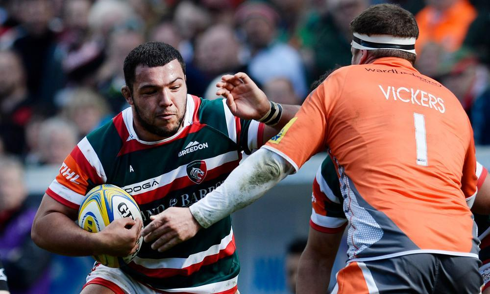 Leicester's Ellis Genge attempts to force a way past Newcastle's Rob Vickers