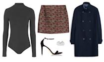 Get Kyra Kennedy's look for yourself in a sleek, mock neck bodysuit, jacquard mini skirt, swingy peacoat, and barely-there heels.