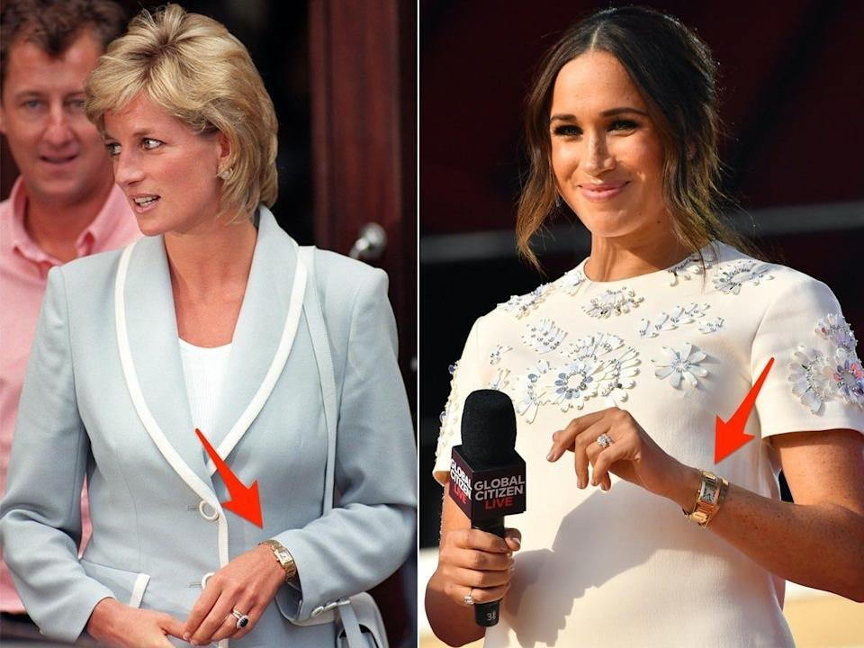 A side-by-side fo Princess Diana and Meghan Markle wearing the Cartier Tank watch.