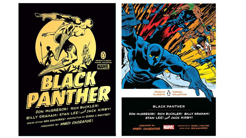 Hardcover and softcover cover art for the Penguin Marvel Comics Black Panther collection.