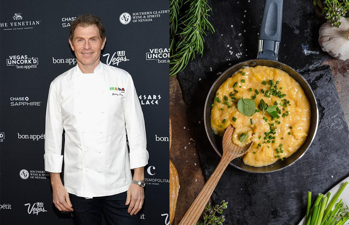 """<p>Food Network star and restaurateur Bobby Flay told <a href=""""https://www.refinery29.com/en-us/2017/08/167500/bobby-flay-scrambled-eggs-recipe?referrer=yahoo&category=beauty_food&include_utm=1&utm_medium=referral&utm_source=yahoo&utm_campaign=feed"""">Refinery29</a> that he starts his perfect scrambled eggs by melting cold butter and creme fraiche in a nonstick pan over medium heat. He then adds beaten eggs and pepper and stirs constantly until the eggs are soft-scrambled. He adds salt and chives right before serving.</p>"""