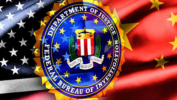 Image of FBI seal against American and Chinese flags