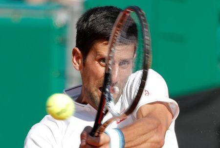 Tennis - Monte Carlo Masters - Monaco - 21/04/2017 - Novak Djokovic of Serbia plays a shot to David Goffin of Belgium. REUTERS/Eric Gaillard