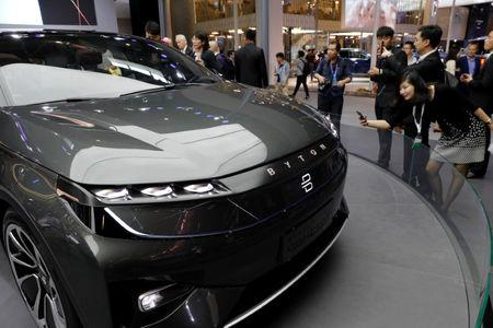 FILE PHOTO - The Byton Concept T car is displayed during a media preview of the Auto China 2018 motor show in Beijing