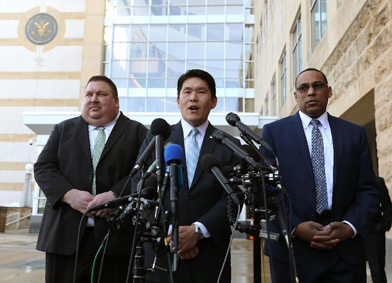 US Attorney Robert Hur (C) addresses reporters after a hearing for a Coast Guard officer accused of plotting to kill Democratic politicians and media personalities (AFP Photo/MARK WILSON)