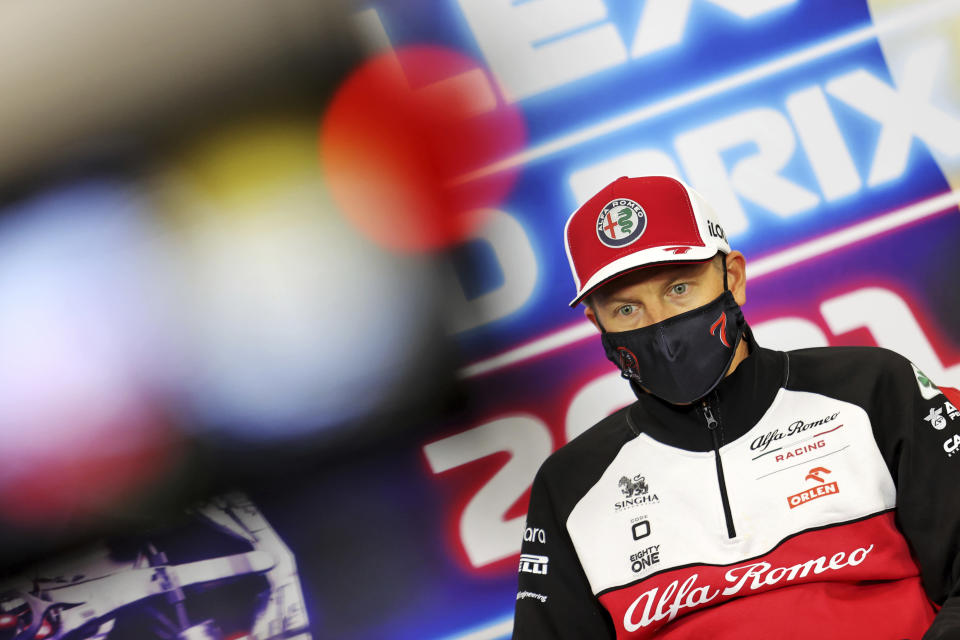 Alfa Romeo driver Kimi Raikkonen of Finland attends a media conference prior to the Belgian Formula One Grand Prix at the Spa-Francorchamps racetrack in Spa, Belgium, Thursday, Aug. 26, 2021. (Xpb Images.com, Pool via AP)