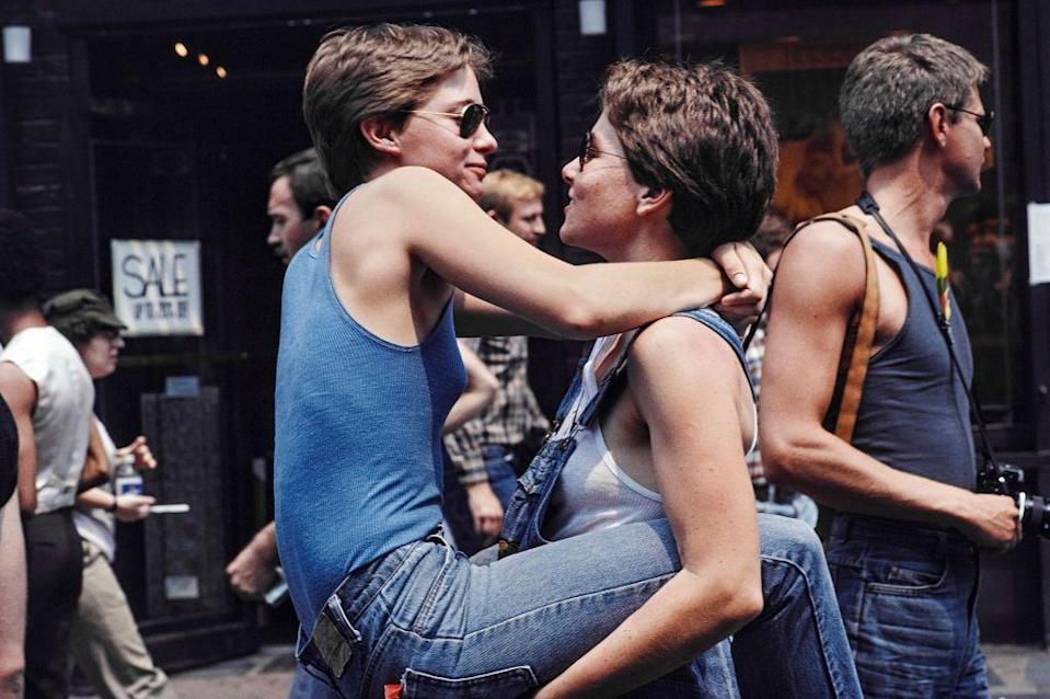 <p>Throwing it way back, two women celebrate during the '82 Pride Parade in New York City. <br></p>
