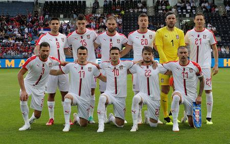 FILE PHOTO - International Friendly - Serbia vs Bolivia - Merkur-Arena, Graz, Austria - June 9, 2018 Serbia players pose for a team group photo before the match REUTERS/Heinz-Peter Bader