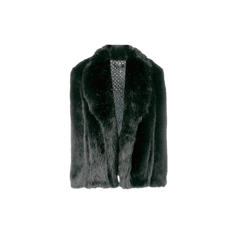 This short Alexander Wang faux fur coat is what will keep you toasty on a cold, blustery night out. Buy now: Alexander Wang coat, $721, farfetch.com.