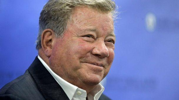 PHOTO: William Shatner takes questions from reporters after delivering the commencement address at New England Institute of Technology graduation ceremonies, in Providence, R.I. (Steven Senne/AP, FILE)