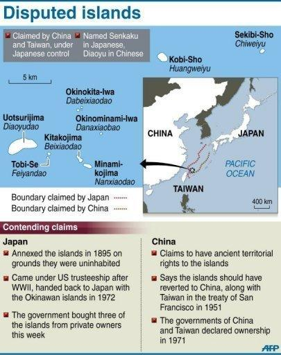 <p>Graphic on the disputed Senkaku/Diaoyu islands. Thousands of anti-Japanese demonstrators have mounted protests in cities across China over disputed islands in the East China Sea, a day after an attempt to storm Tokyo's embassy in the capital.</p>