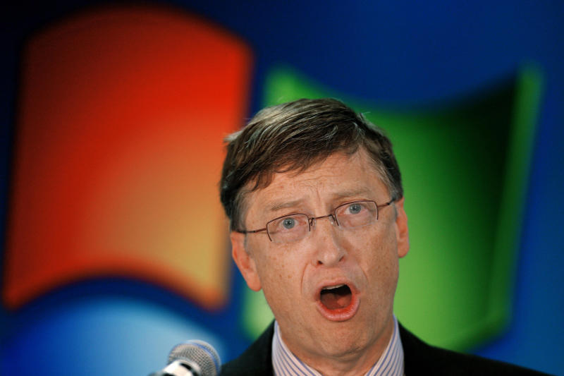 FILE - In this Feb. 1, 2007 file photo Microsoft Chairman Bill Gates speaks during a ceremony in Bucharest, Romania. A European court on Wednesday, June 27, 2012 upheld most of a massive fine levied against Microsoft by the European Commission's competition watchdog, closing a case against the software giant that began in 1998. (AP Photo/Vadim Ghirda, File)