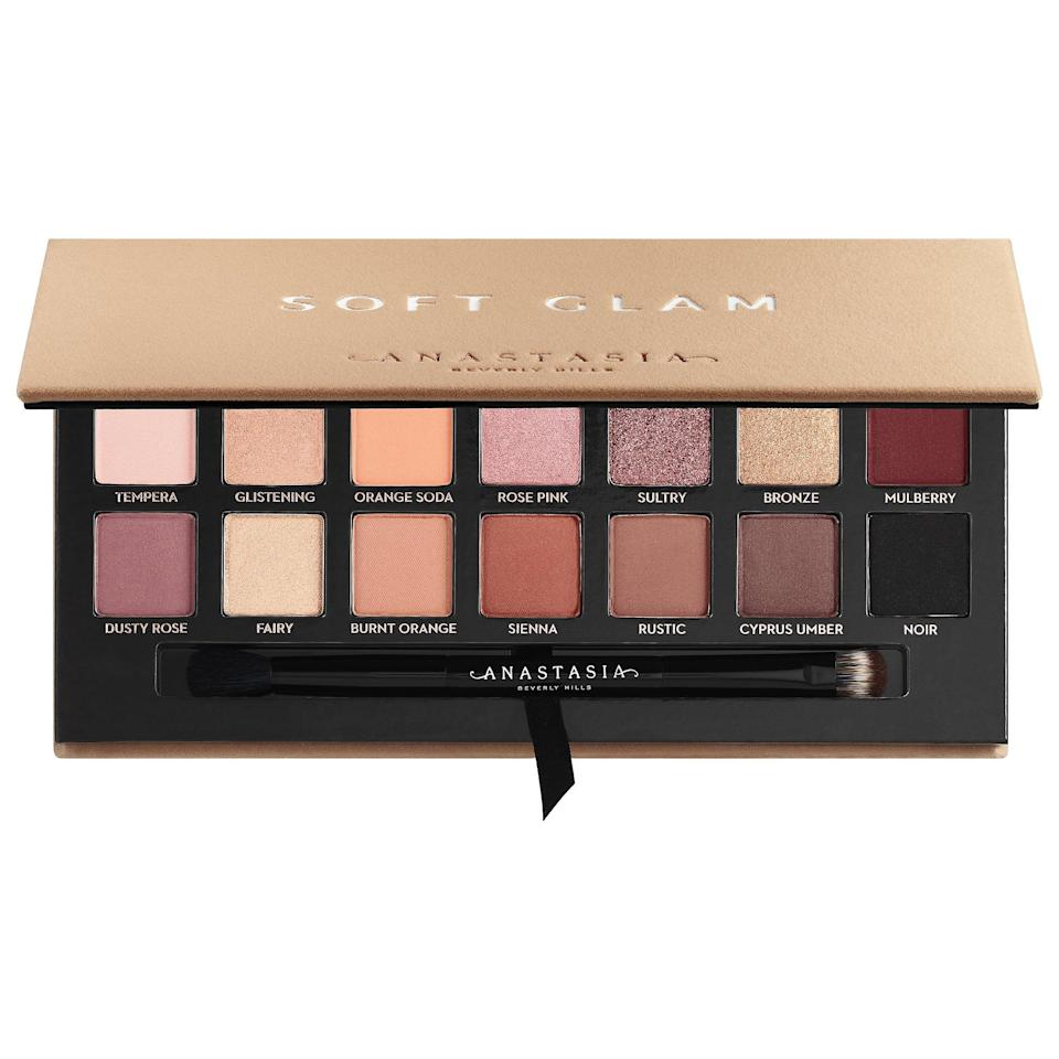 "<p>If there were an award for most perfect everyday eyeshadow palette, the <a href=""https://www.popsugar.com/buy/Anastasia-Beverly-Hills-Soft-Glam-Eyeshadow-Palette-582567?p_name=Anastasia%20Beverly%20Hills%20Soft%20Glam%20Eyeshadow%20Palette&retailer=sephora.com&pid=582567&price=42&evar1=bella%3Aus&evar9=41950877&evar98=https%3A%2F%2Fwww.popsugar.com%2Fbeauty%2Fphoto-gallery%2F41950877%2Fimage%2F47567880%2FAnastasia-Beverly-Hills-Soft-Glam-Eyeshadow-Palette&list1=makeup%2Ceyebrows%2Cbeauty%20shopping%2Canastasia%20beverly%20hills&prop13=mobile&pdata=1"" class=""link rapid-noclick-resp"" rel=""nofollow noopener"" target=""_blank"" data-ylk=""slk:Anastasia Beverly Hills Soft Glam Eyeshadow Palette"">Anastasia Beverly Hills Soft Glam Eyeshadow Palette </a> ($42) would take the prize. It features 14 shades, ranging from mattes to shimmers, that allow you to create an infinite number of looks.</p>"