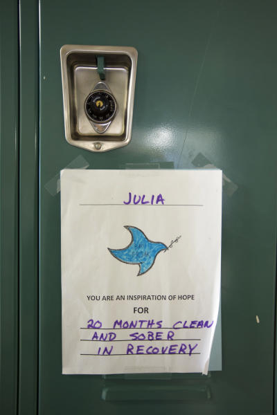"In this Monday, March 13, 2017 photo, an inspirational message is posted on a student's locker at Hope Academy in Indianapolis. For teenagers in treatment for addiction, returning to school means resisting offers to get high with old friends. Researchers said these kids do better at special ""recovery schools"" that use peer pressure in a different way, to support sobriety. (AP Photo/Michael Conroy)"