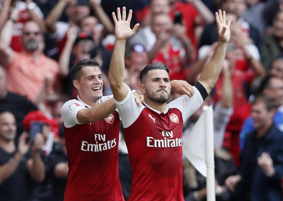 Sead Kolasinac scored the equalizer as Arsenal went on to beat Chelsea in penalties and win the Community Shield. (AP)