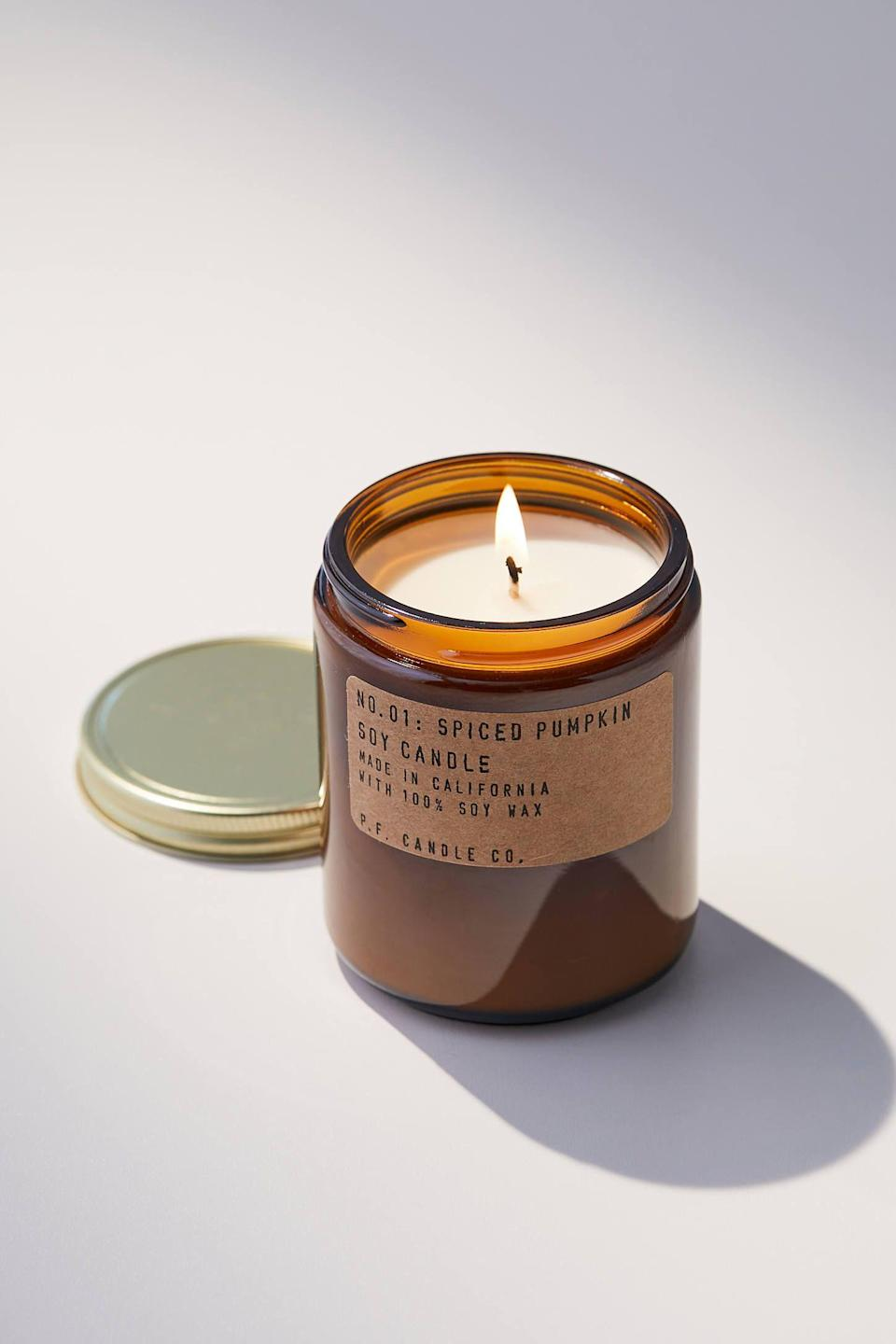 """<p><strong>P.F. Candle Co.</strong></p><p><strong>$20.00</strong></p><p><a href=""""https://go.redirectingat.com?id=74968X1596630&url=https%3A%2F%2Fwww.urbanoutfitters.com%2Fshop%2Fpf-candle-co-amber-jar-holiday-candle&sref=https%3A%2F%2Fwww.elledecor.com%2Fshopping%2Fhome-accessories%2Fg37938966%2Fbest-pumpkin-spice-decor%2F"""" rel=""""nofollow noopener"""" target=""""_blank"""" data-ylk=""""slk:Shop Now"""" class=""""link rapid-noclick-resp"""">Shop Now</a></p><p>This soy candle smells like nutmeg, pumpkin, brown sugar, and cinnamon and comes packaged in a reusable amber jar.</p>"""